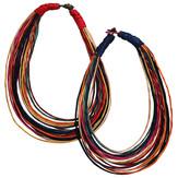 Läderhalsband multifärgat